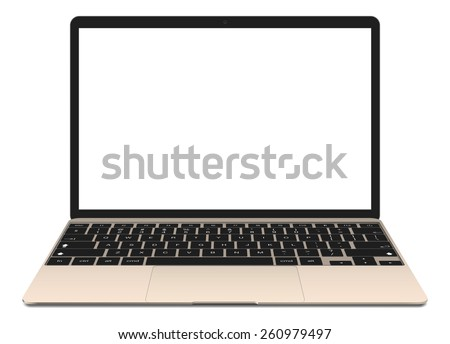 Vector illustration, thin Laptop with blank screen isolated on white background, in gold color of aluminium body. - stock vector