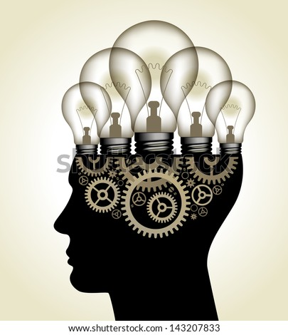 Vector Illustration - Thinking Concept. human head with light bulbs and gears. The file is saved in the version AI10 EPS. This image contains transparency. - stock vector