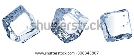 Vector Illustration. Three ice cubes isolated on white background. - stock vector