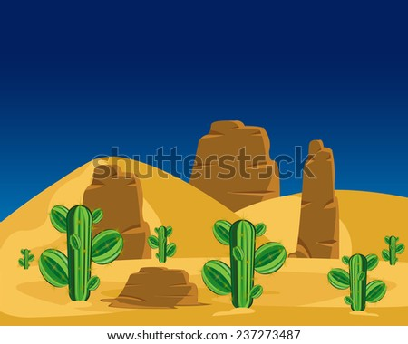 Vector illustration to deserts with cactus.Wild landscape - stock vector