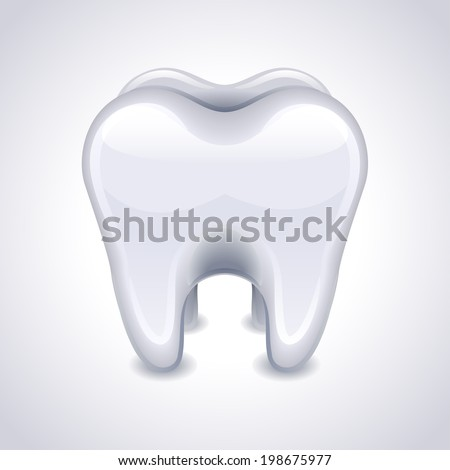 Vector illustration - tooth on white background - stock vector