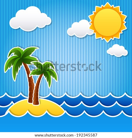 Vector illustration - Tropical island scrapbook background - stock vector
