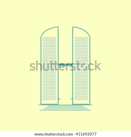 vector illustration twins building - stock vector