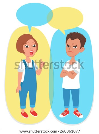 Vector illustration. Two cartoon style kids portrait with speech bubbles with empty space for text. Caucasian girl and boy arguing, discussing or disputing. - stock vector