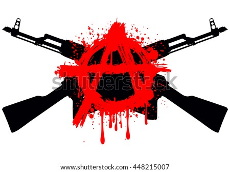Vector illustration two crossed gun machine and red symbol anarchy for design tattoo or t-shirt - stock vector