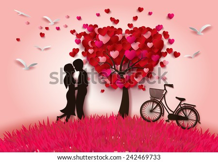 Vector illustration two enamored under a love tree,paper cut style. - stock vector