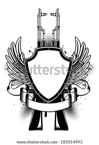 Vector illustration two Kalashnikov guns, wings and shield - stock vector