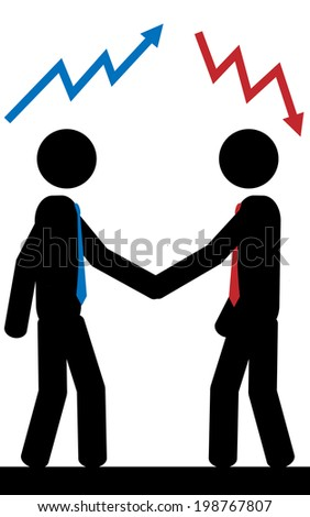 Vector/illustration. Two men with different ideas. - stock vector