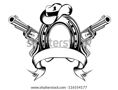 Vector illustration two revolvers, horse shoe and cowboy's hat - stock vector