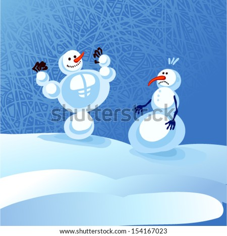 Vector illustration - two snowman - stock vector