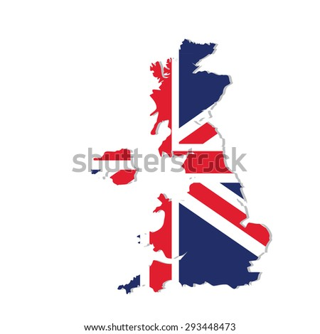 Vector illustration uk map with flag. England map. United Kingdom of Great Britain. Uk map counties - stock vector