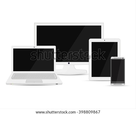 Vector illustration ultimate web design electronic devices set. Computer monitor, smartphone, laptop and tablet pc template, design - stock vector