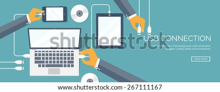 Vector illustration. Usb connection. Computer, tablet, smartphone. Cable. - stock vector