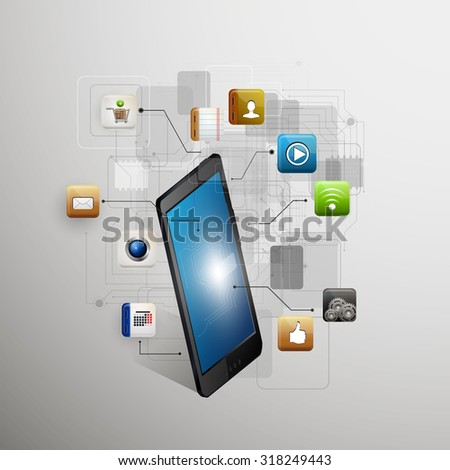 Vector illustration use of cloud computing storage and applications on a mobile device with a set of flat icons - stock vector