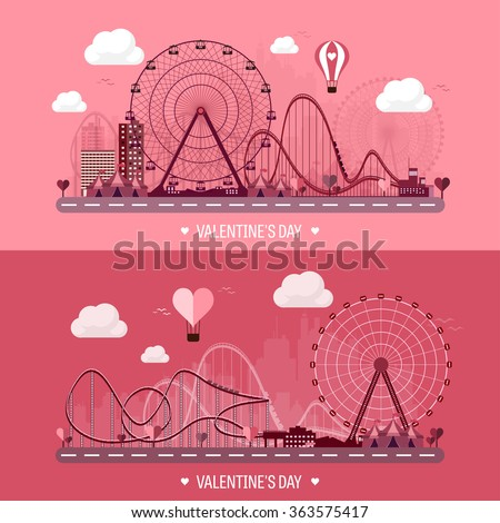 Vector illustration. Valentines day. Love. 14 february. Park. Ferris wheel. Roller coaster. - stock vector