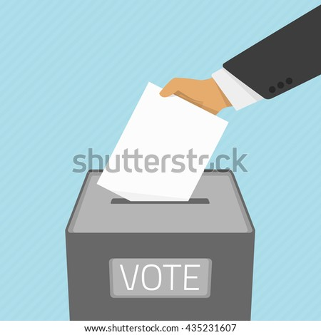 Vector illustration voting concept - hand putting voting paper in the ballot box. Hand casting a vote. Vote ballot in hand with box in flat style. - stock vector