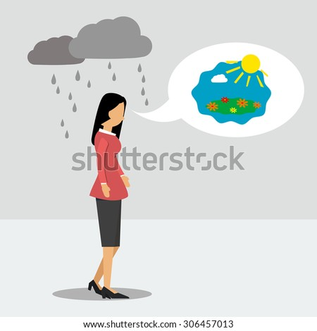 Vector illustration. Walking business woman in depression but thinking about good - stock vector