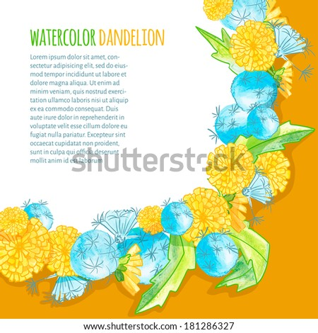 vector illustration. watercolor blank of dandelions with text on bright background - stock vector