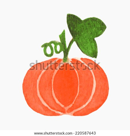 Vector illustration. Watercolor or aquarelle pumpkin. Hand-drawn object isolated on white background.  - stock vector