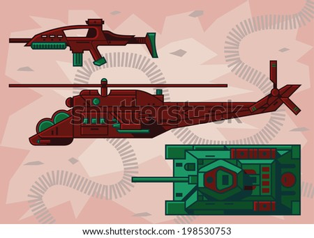 Vector illustration weapons helicopter and tank on a beige background. - stock vector