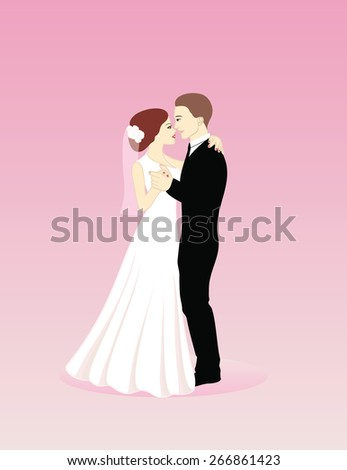 vector illustration wedding couple - stock vector