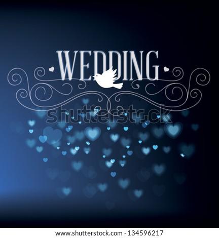 Vector illustration. Wedding invitation card. Vector love element. - stock vector