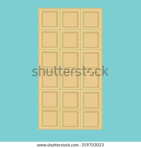 Vector illustration white, milk chocolate bar isolated on blue background. Chocolate bar icon - stock vector