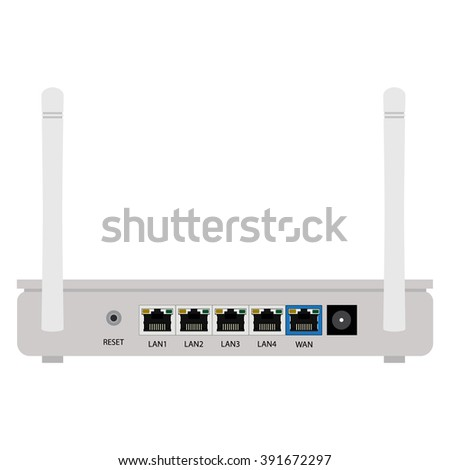 Vector illustration white realistic wireless router with the antenna back view. Wi-Fi router detailed  - stock vector