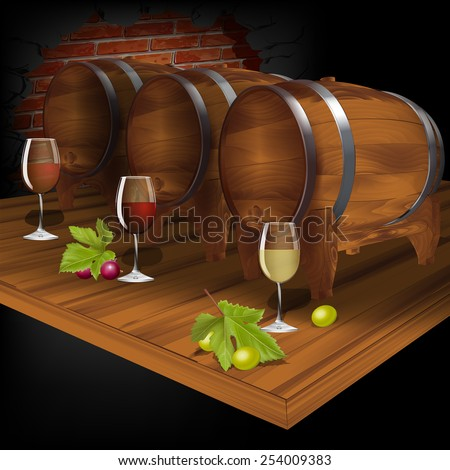 vector Illustration wine cellar with wine from the barrel - stock vector
