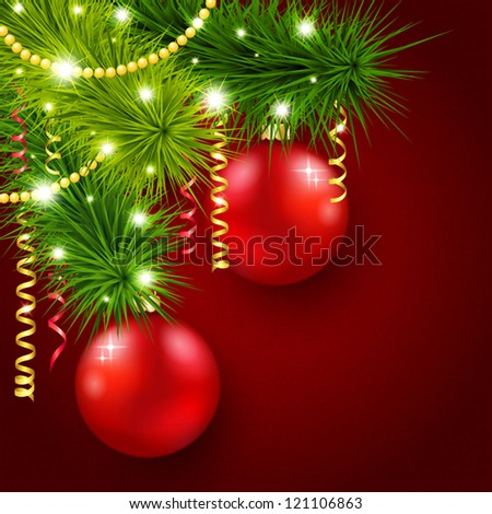 Vector illustration with a Christmas tree decorated with red balls - stock vector