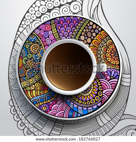 Vector illustration with a Cup of coffee and hand drawn ornament on a saucer and background - stock vector
