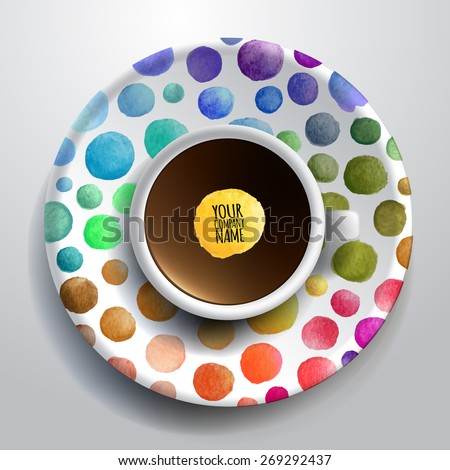 Vector illustration with a Cup of coffee and hand drawn watercolor on a saucer  - stock vector