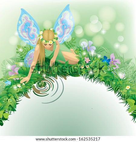 Vector illustration with a fairy girl with blue wings seated near the water bordered by plants and flowers - stock vector