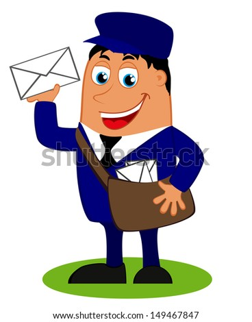 Vector illustration with a funny postman with bag and letter  - stock vector