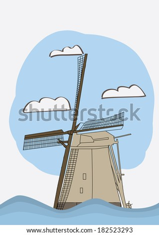 vector illustration with a mill and blue sky - stock vector