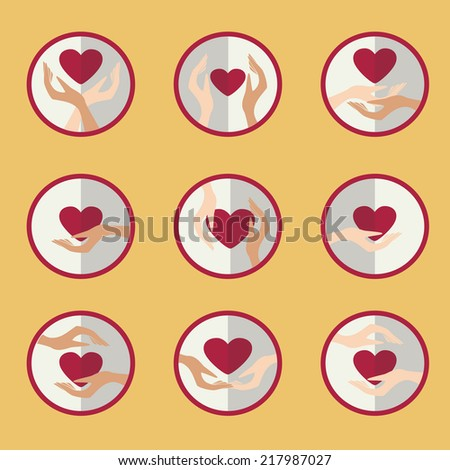 Vector illustration with a picture of a heart in hand. Valentine's day postcard - stock vector