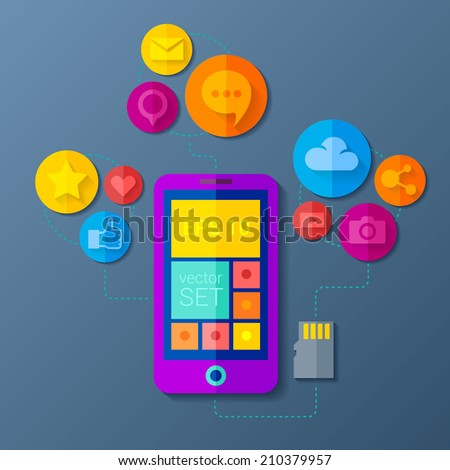 Vector illustration with a set of colorful icons on web buttons above a mobile device. Mobile communication by smart phone apps design concept - stock vector