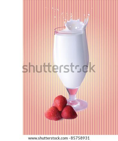 vector illustration with a strawberry milkshake - stock vector