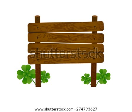 Vector illustration with a wooden sign and clovers - stock vector