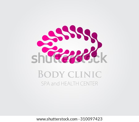 Vector illustration with abstract pink flower symbol. Logo design. For beauty salon, spa center, health clinic - stock vector