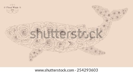 Vector illustration with abstract whale. Silhouette of whale, consisting of beautiful roses. Can be used as postcard, illustration  - stock vector