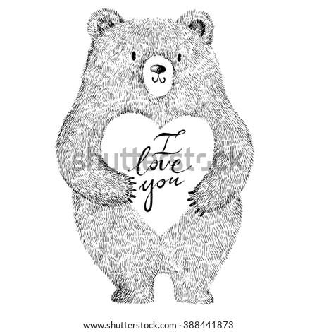 Vector illustration with adorable cute bear. Stylish romantic illustration - stock vector