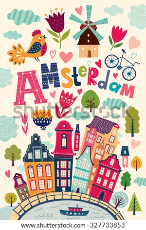Vector illustration with Amsterdam symbols. Netherlands vector symbols. Postcard - stock vector