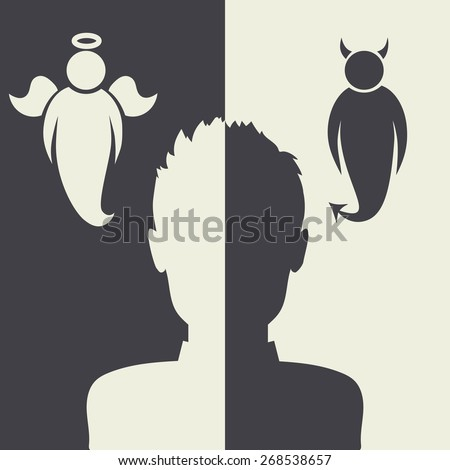 Vector illustration with angels and demons - stock vector