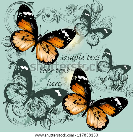 Vector illustration with butterflies - stock vector