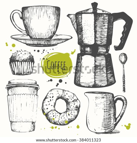 Vector illustration with coffee drinks. Decorative elements for your design.  Set of hand drawn cup of coffee, geyser coffee, donut, cupcake, milk. Black and white sketch of coffee. - stock vector