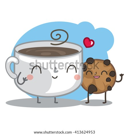 Vector illustration with cute cup of coffee and sweet cookie. Chocolate cookie loves hot coffee. - stock vector