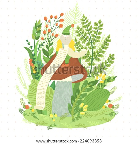 Vector illustration with cute dwarf, mushroom, branches, leaves and berries. Fairytale card with different floral elements. - stock vector