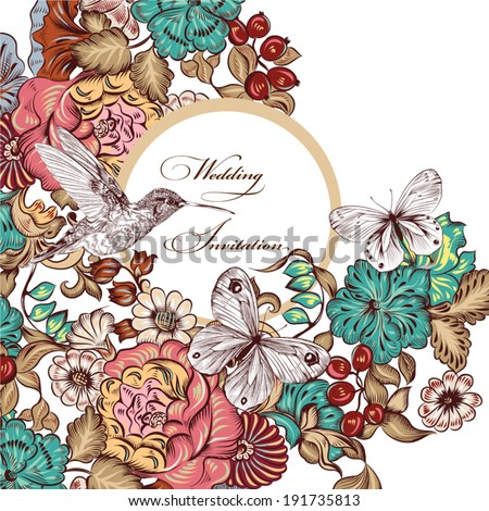 Vector illustration with cute floral swirl elements for design - stock vector