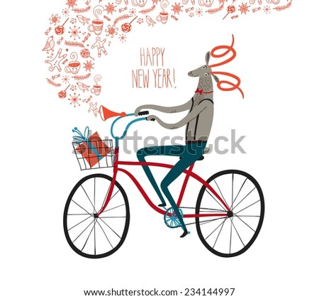 Vector illustration with cuteNew Year's symbol Sheep on city bicycle with gift box in basket - stock vector